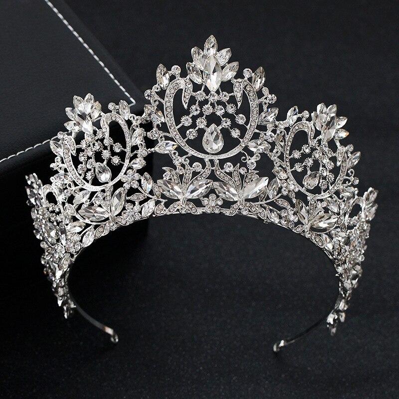 Image 5 - KMVEXO New Vintage Luxury Big European Bride Wedding Tiaras Gorgeous Crystal Large Round Queen Crown Wedding Hair Accessories-in Hair Jewelry from Jewelry & Accessories