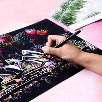 DIY צבעוני עיר סדרת עיר לילה שריטה ציור עולם נוף שריטה נייר Creative מתנת יום הולדת ציור אמנות סקיצות