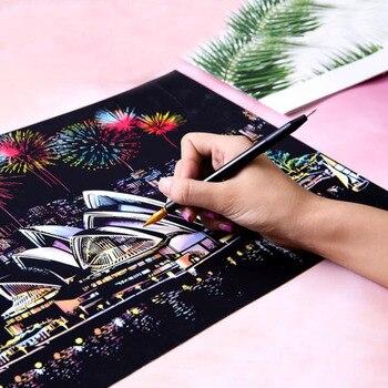 DIY serie colorida de la ciudad de La Noche de la ciudad de la pintura del paisaje del mundo de los arañazos papel creativo Regalo de Cumpleaños pintura de arte BOCETOS