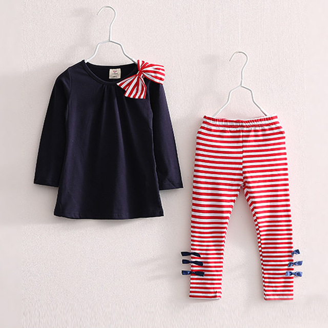 Baby Kids Clothes Girls Sets 2019 New Cotton Casual Children Clothing Set Long Sleeve Tops Striped Pants Roupas Infantis Menina