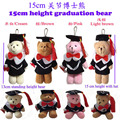 20 pcs/lot, 4 colors mixed, stuffed graduation jointed teddy bear pendent, plush graduation joint teddy bear, graduation bear