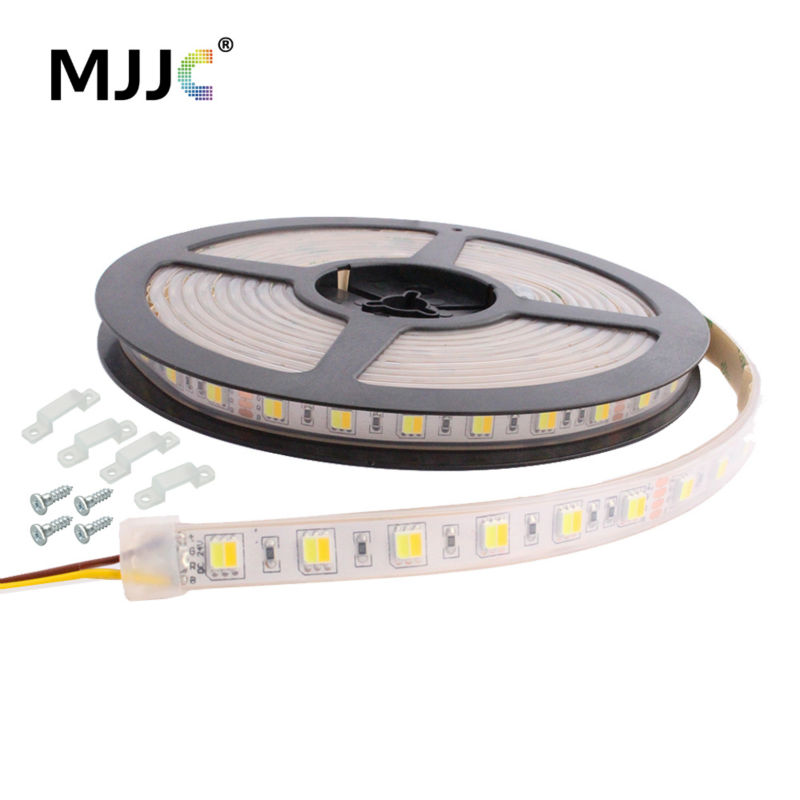 CT Dimmable LED Strip Light 12V 24V DC 5M WW CW Color Temperature Adjustable Flexible LED Tape Ribbon Lights Waterproof IP67