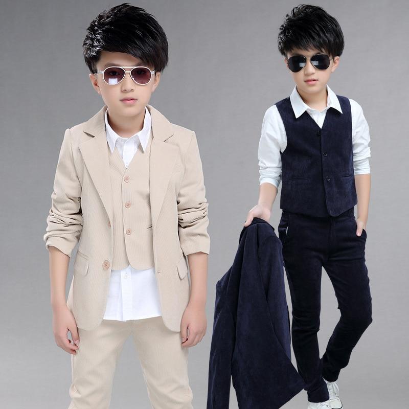 Big Boys Blazer Suits for Weddings Children Jacket+Vest+Pants 3 pieces/set Costu