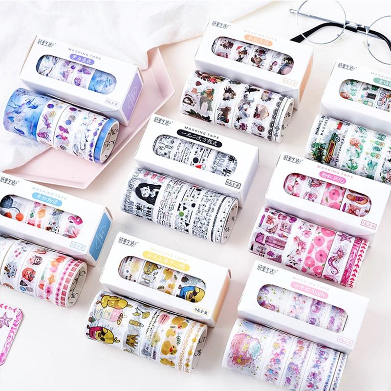 6 Pcs/Box Beautiful Flower Washi Tape DIY Decoration Scrapbooking Planner Masking Tape Adhesive Tape Label Sticker Stationery