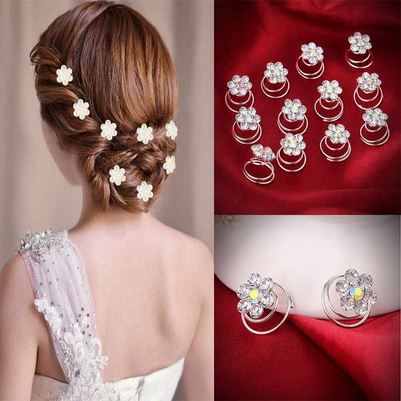 12PCS Hair Clips For Women Flower Crystal Wedding Bridal Hair Pins Twists Spiral Coils Hairpins Styling Fashion Hair Accessories