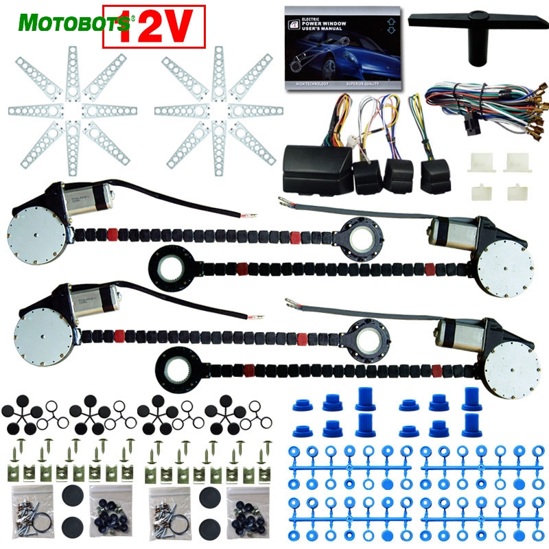 MOTOBOTS DC12V Universal Car/Auto 4 Doors Electronice Power Window kits With 8pcs/Set Swithces and Harness #CA907