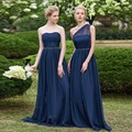 Azul royal vestidos de dama de honra de um ombro chiffon frisada simples vestidos de dama de honor vestidos vestido para a festa de casamento barato