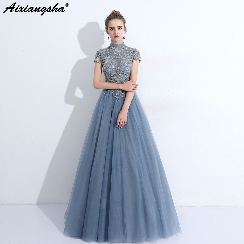 Blue Red   Prom     Dresses   2018 High-Neck Floor-Length A-Line Long   Prom     Dress   Elegant Plus Size abiti da cerimonia donna vestidos