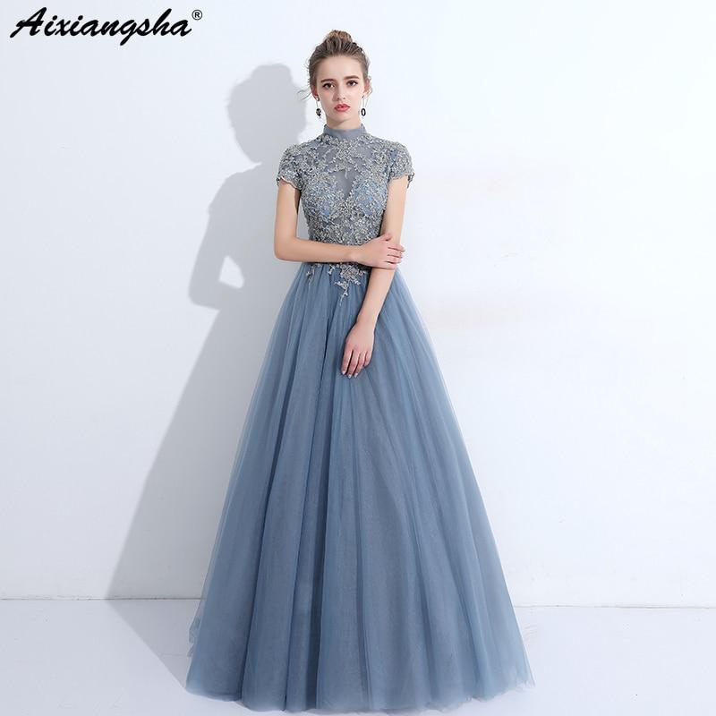 Blue Red   Prom     Dresses   2018 High-Neck Floor-Length A-Line Long   Prom     Dress   Elegant Plus Size abiti da cerimonia donna vestidos