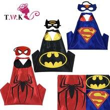 Superhéroe capa (1 Capa + 1 máscara) Superman batman spiderman superhero disfraces niños disfraces de Halloween trajes de fiesta de Navidad