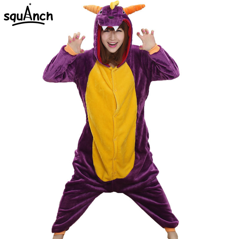 Women Onesie Spyro Dragon Pajama Men Adult Purple Animal Character Costume Funny Festival Party Jumpsuit Winter Warm Play Suit