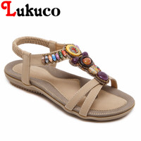 2018 Lukuco Women Bohemian Sandals Flat Heel CN Large Size 39 40 41 42 43 44
