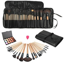 Beauty Essentials Cosmetics Makeup Brushes Set Face Concealer Contour Platte+24pcs Pro Make up Brushes+1 Cosmetic Puff+1 bag