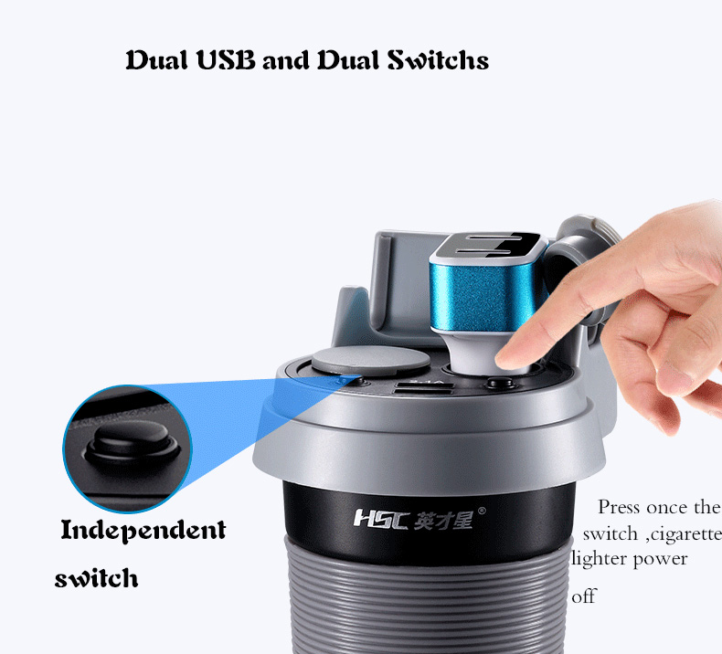 Çift USB Araç Şarj Cep Telefonu Için Hızlı Şarj Çift araç - Araba Parçaları - Fotoğraf 5