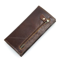 Men Wallets Genuine Leather Antitheft RFID Wallet For Cowhide Men Long Bifold Business Card Holder Purse
