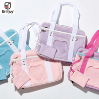 Brilljoy New Handbag Ita Bag Japanese Heart Window School Bag Girl JK Uniform Shoulder Bag Tote Lolita Cosplayer 4 color Wego
