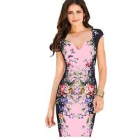 Pink Fashion V Collar High Waist Clothes Bracelet Small Fresh Pencil Pen Dress Professional Female Pencil