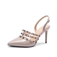 summer fashion womens sandals high quality real cow leather fabric beautiful rivets decorated pointed toe heel san