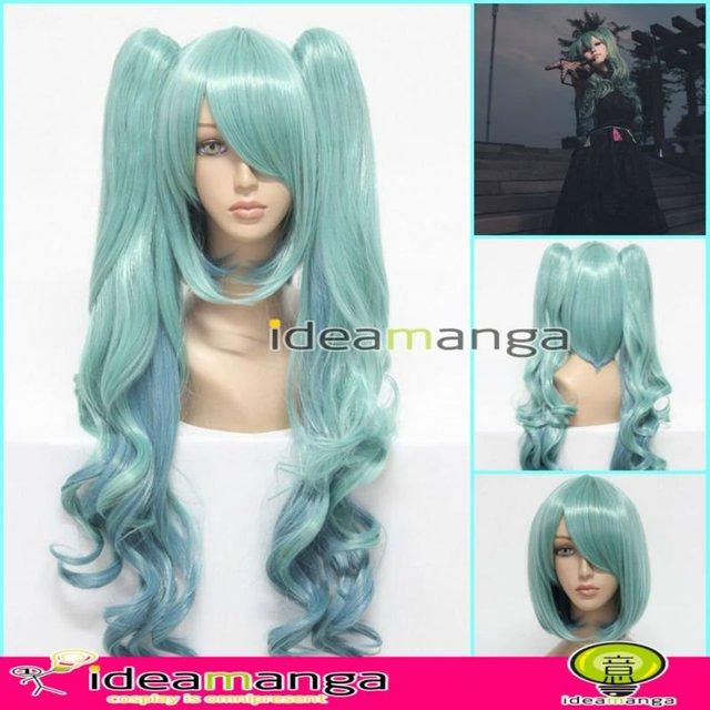 Manga Amime V+ Vocaloid MIKU Hatsune sun and the moon Cosplay Wig hair High-temperature Resistance Fibers halloween GREEN 80cm