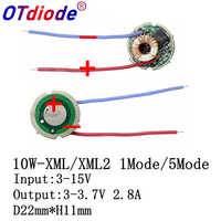 2pcs/lot,5 Mode/1Mode Constant Current 2800mA DC 12V XML T6 Led Driver For Cree XML XM-L2 LightingTransformers 5 Mode