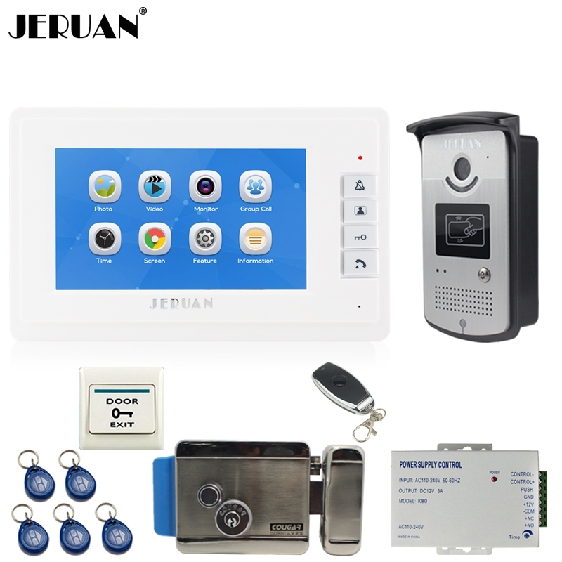 JERUAN 7 inch color LCD Video Door Phone Record Intercom System kit 1 Monitor +700TVL RFID Access Camera +Electronic lock