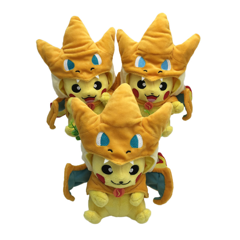 Hot Pikachu Cosplay Mega Charmander Plush Toys Cute Kawaii Stuffed Animals Soft Baby Toy Cartoon Plush Dolls for Kids Gift