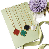 Boutique Luxury 2 5CM Shell Malachite Purple Chalcedony Long Necklace Gold Rose Silver Chain Clover Sweater
