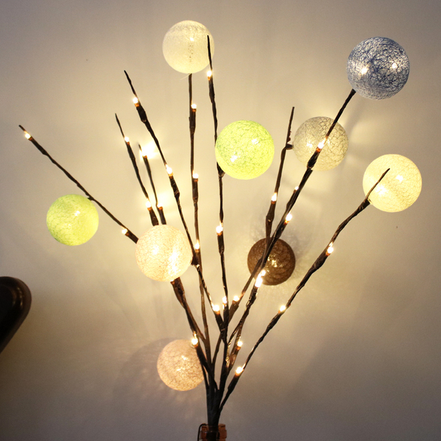 DIY Tree Branches Lamp 20 LED Night Light Office Vase Lighting Home  Festival Wedding Decor Novelties