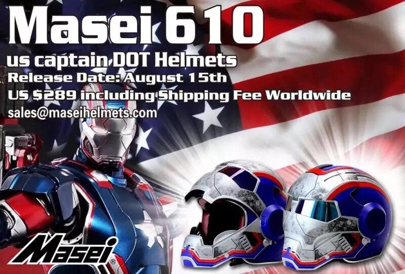 Uomini donne ktm MASE Iron Man Patriot personalità speciale moto insolito metà viso aperto motocross casco-Blu-S, M, L, XL, XXL