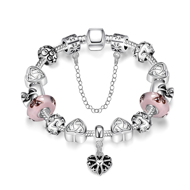 New Fashion Heart Infinity Round Star Link Chain Silver Bracelet Popular Enamel Butterfly Bag Shape Bead Charm Jewelry For Women
