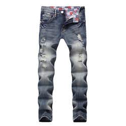Новые модные мужские повседневные осенние джинсовые хлопковые Прямые рваные Брюки Джинсы Брюки Moda Hombre 2019 рваные джинсы для мужчин 5