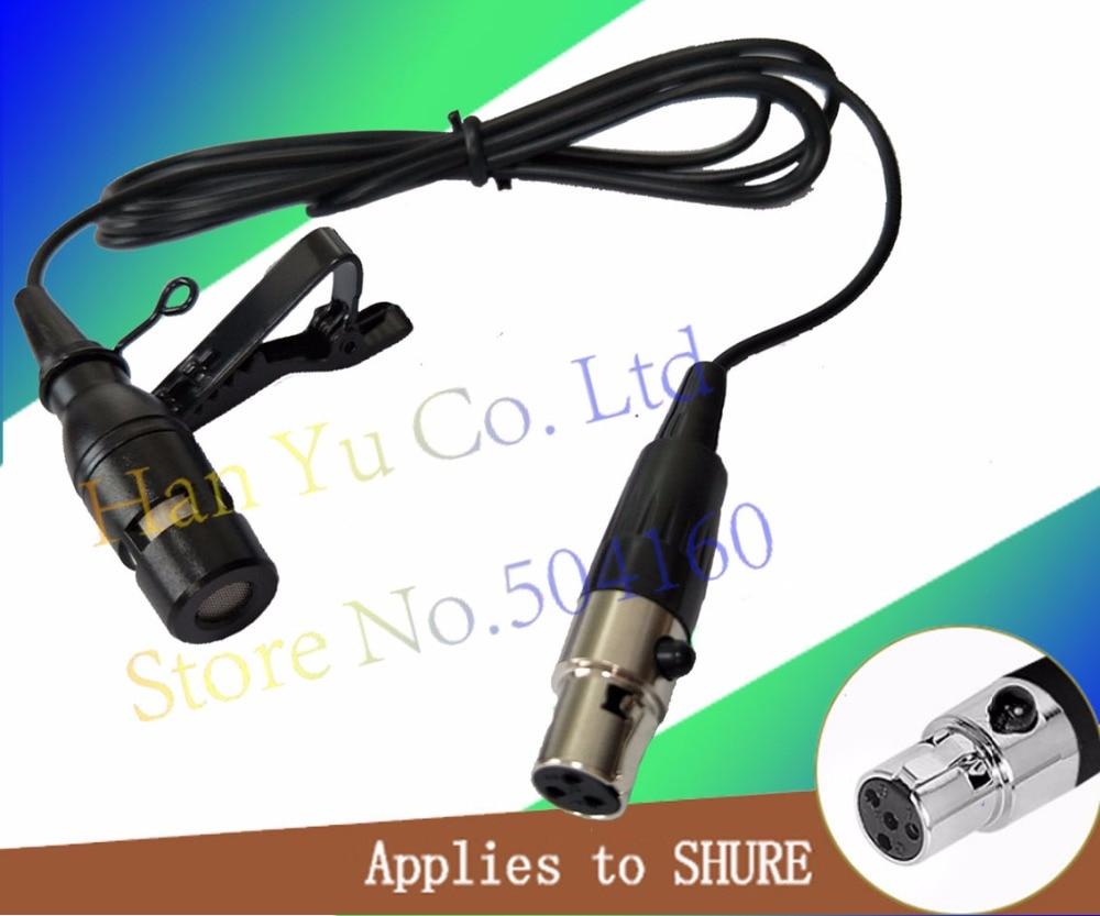Mini XLR 4 Pin TA4F Plug Wired Microfone Condenser Tie Clip On Lapel Lavalier Microphone For