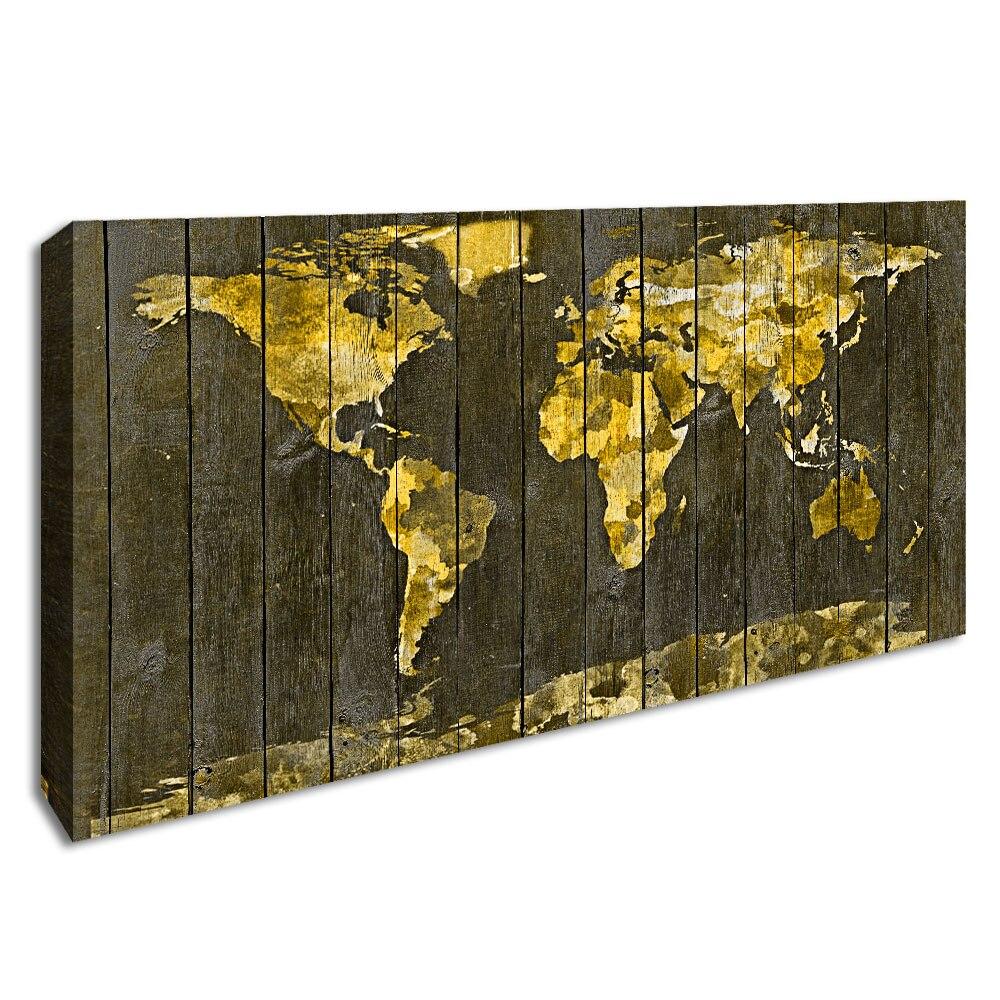 Jaune rétro carte du monde Art affiche toile impression bois Grain carte mur photo pour salon encadré décoratif peinture décor à la maison