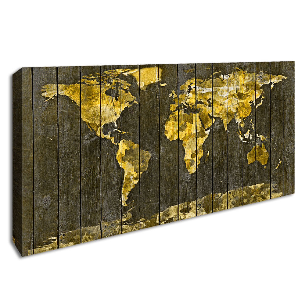 Yellow Retro World Map Art Poster Canvas Print Wood Grain Map Wall Picture for Living Room Framed Decorative Painting Home Decor