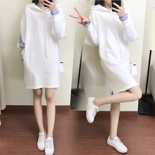 Maternity dress autumn and winter Korean loose hooded two pieces of sweater in the long section of pregnant women jacket dress