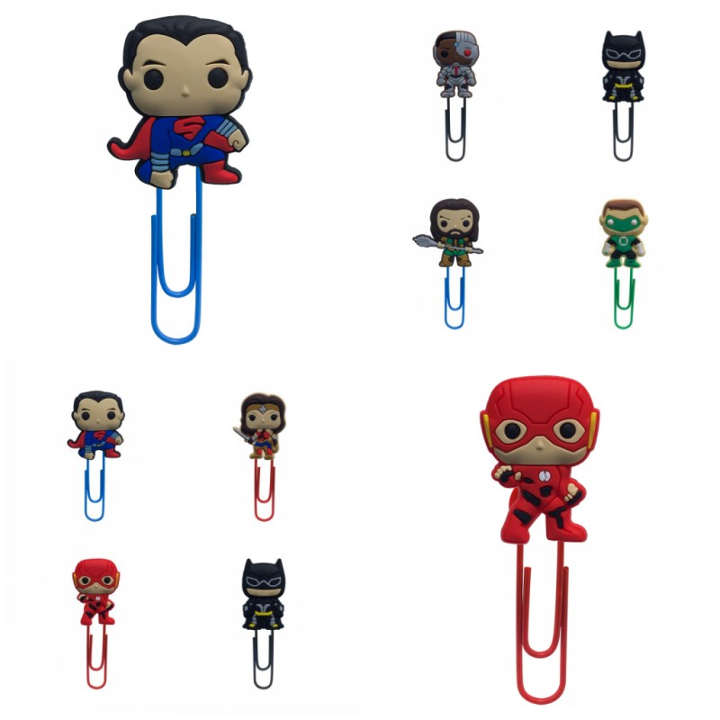 8pcs Justice League Cute Bookmarks For Books Action Figure Superman Flash Paper Clips Student Teacher Stationery DIY Kids Gift