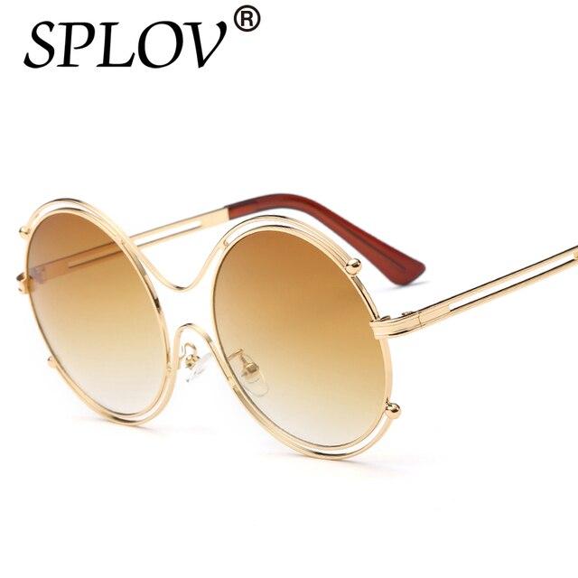 Mulheres Óculos De Sol Espelho Redondo lente SPLOV Tons Armação de Metal  óculos de Sol Das 2e87ea4569