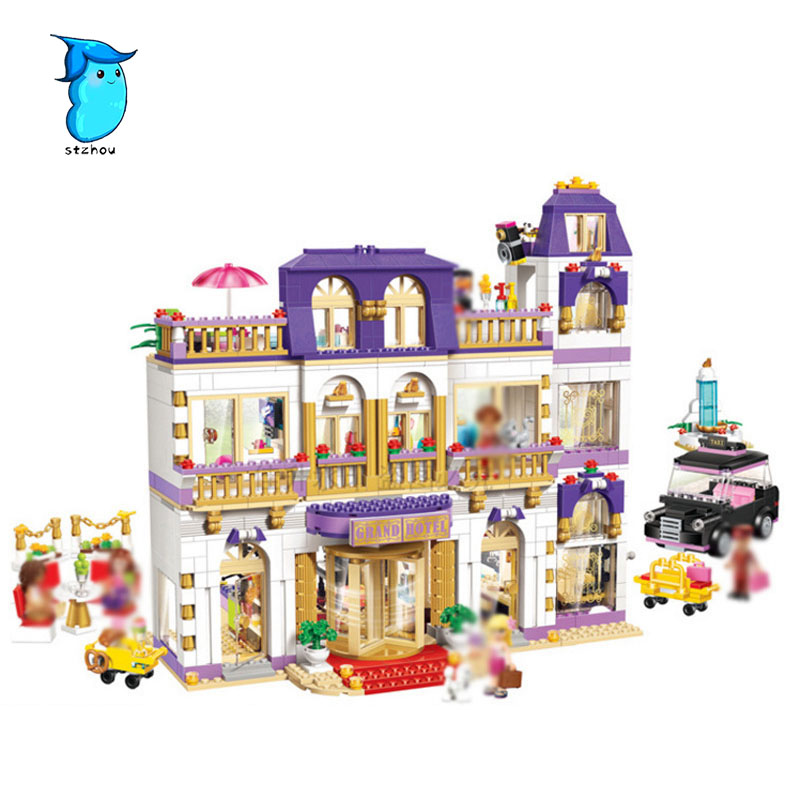 StZhou 1585pcs new bale heartlake grand hotel Compatible lepin Girl friends birthday gift DIY building blocks toys Assembled new century grand hotel ningbo