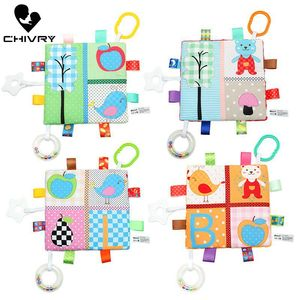 Chivry 19cm*19cm Baby Comforting Supplies Blanket Super Soft Square Plush Baby Appease Towel Baby Toys Handbells Teether