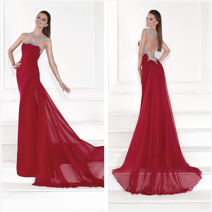 New Fashion Scoop neck Cap Sleeve Red Chiffon   Prom     Dresses   2015 Hollow Back Long   Prom     Dresses