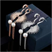 Fan Long Pearl Pendant Stud Earring 100 Real 925 Sterling Silver Jewelry High Quality AAA Zircon
