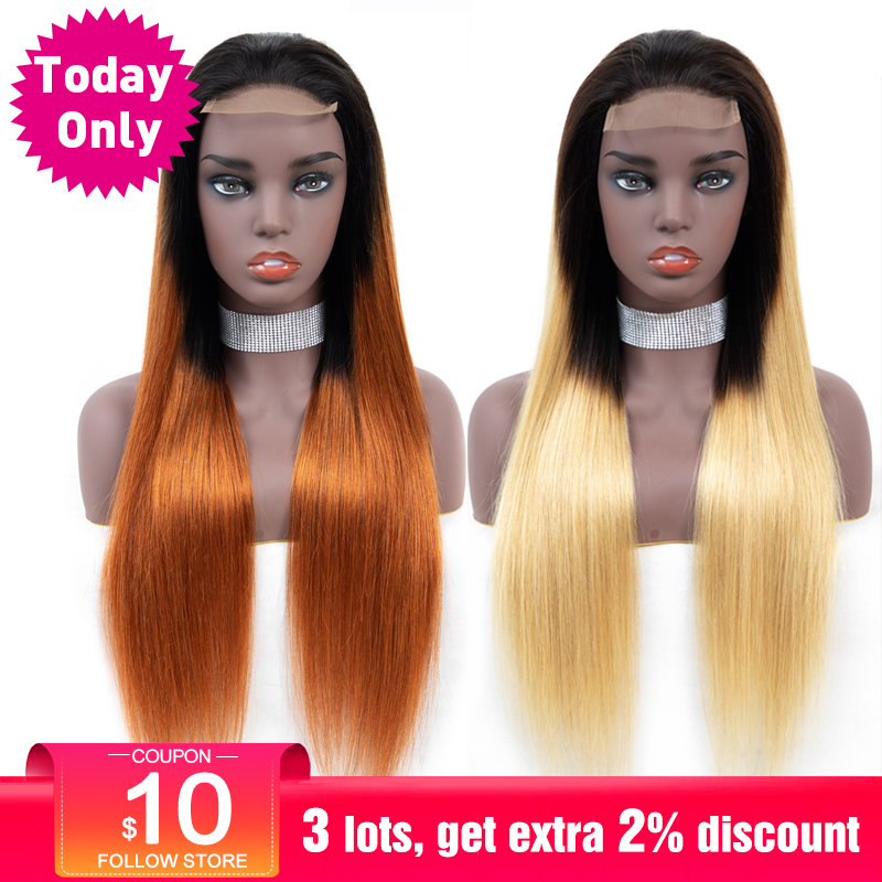 TODAY ONLY Ombre Brazilian Wig Straight Human Hair Wigs For Black Women Colored Ombre Lace Wig Blonde Human Hair Wig Remy