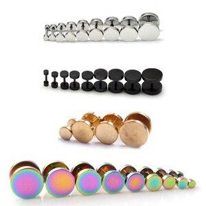 Alisouy 1 piece Black Stainless Steel Fake Cheater Ear Plugs Gauge Body Jewelry Pierceing Earring For Men()