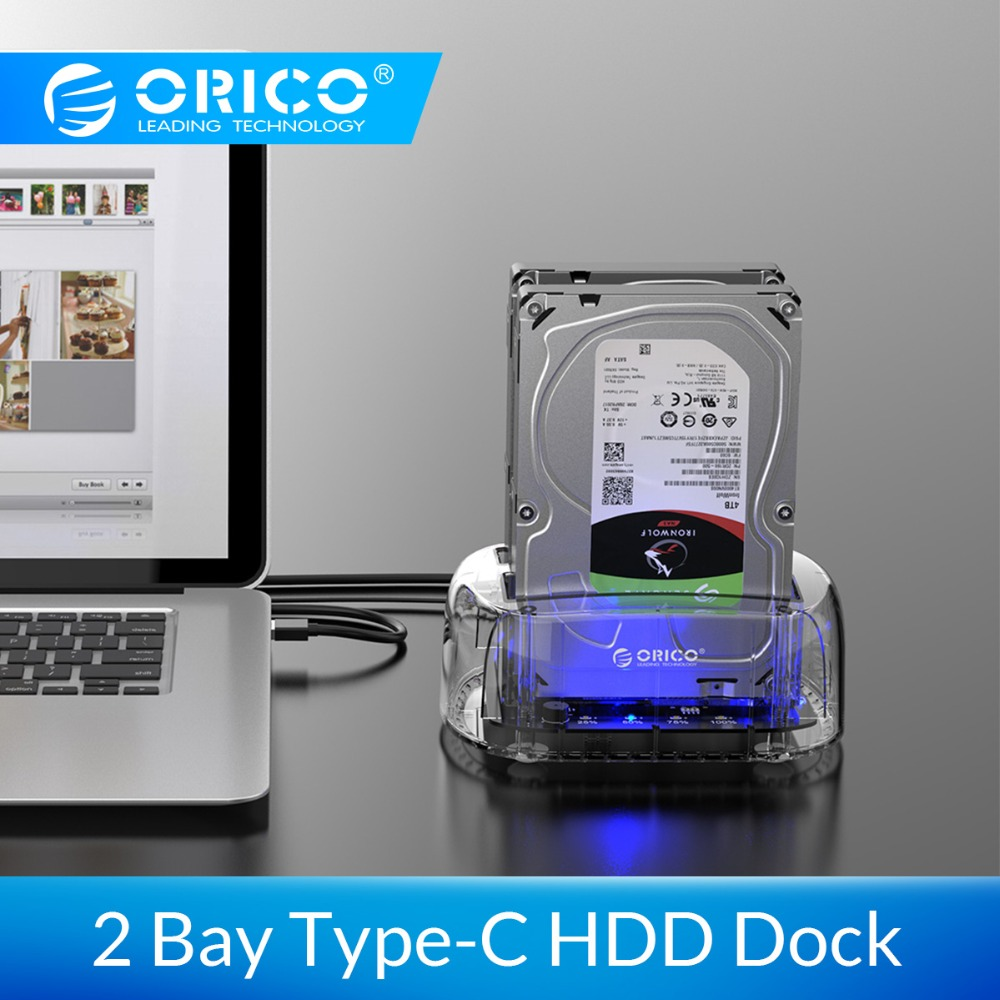 ORICO 2.5/3.5 Inch 2 Bay USB C Transparent Hard Drive Enclosure Support 24TB USB3.1 Gen1 HDD Dock Station Type-C HDD Case