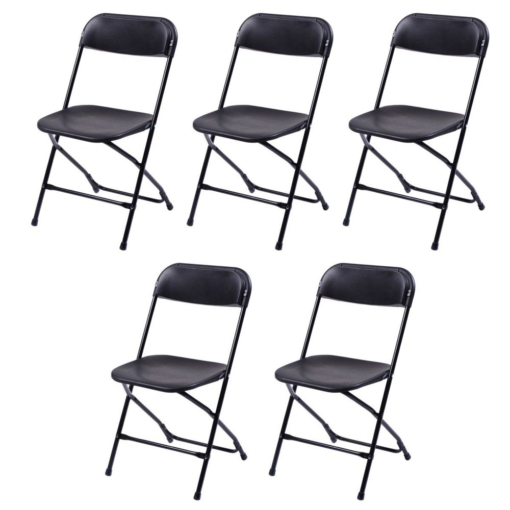 5pcs Commercial Plastic Folding Chairs Stackable Chair