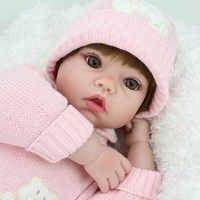 20 polegada 50cm silicone reborn bonecas do bebê vivo lifelike peruca marrom real bonecas bebe realista reborn bebês brinquedos da menina presente de aniversário