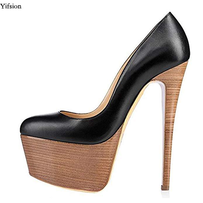 Olomm New Women Platform Pumps Sexy Stiletto High Heels Pumps Charm Round Toe Gorgeous Party Shoes