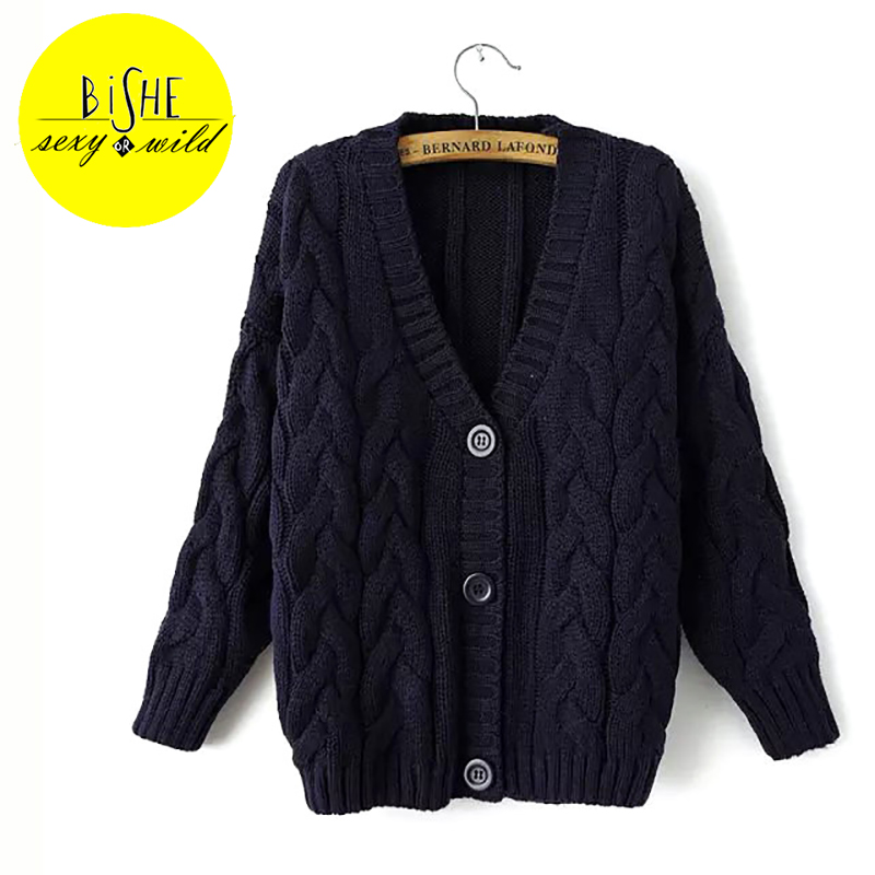BISHE Cardigan Women Autumn Knitting Sweaters Female Ribbed Long ...