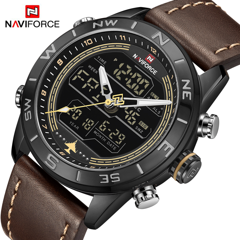 2018 Mens Watches Top Brand NAVIFORCE Men Fashion Sport Watch Male Waterproof Quartz Digital Led Clock Mens Military Wristwatch 2016 brand o t s fashion outdoor sport waterproof led mens clock digital