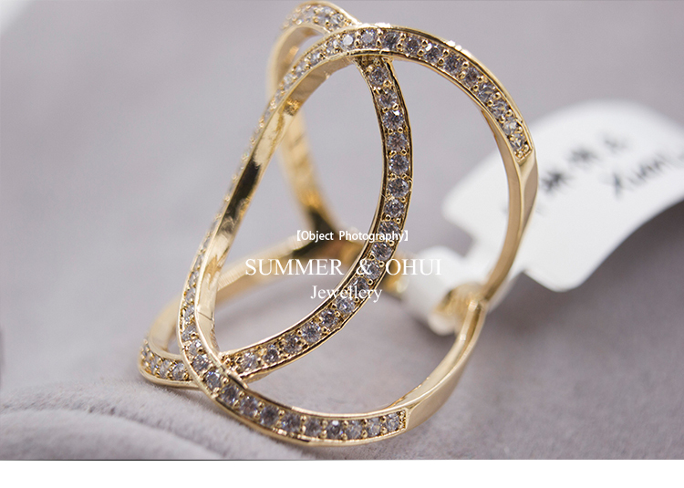 Newest Design Gold Mid Finger Ring with Top Quality CZ stone Oval